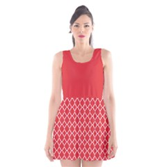 Poppy red quatrefoil pattern Scoop Neck Skater Dress by Zandiepants