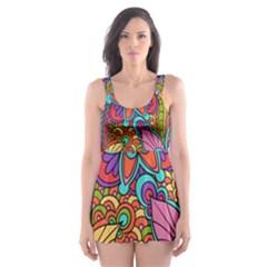 Festive Colorful Ornamental Background Skater Dress Swimsuit by TastefulDesigns