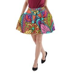 Festive Colorful Ornamental Background A-Line Pocket Skirt by TastefulDesigns