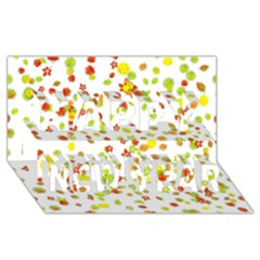 Colorful Fall Leaves Background Happy New Year 3d Greeting Card (8x4)  by TastefulDesigns