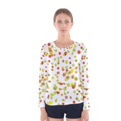 Colorful Fall Leaves Background Women s Long Sleeve Tee by TastefulDesigns
