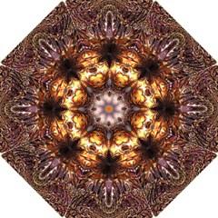 Golden Metallic Abstract Flower Hook Handle Umbrellas (small) by CrypticFragmentsDesign
