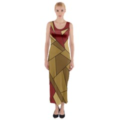Urban Jungle Tower Brown Red Fitted Maxi Dress by CircusValleyMall