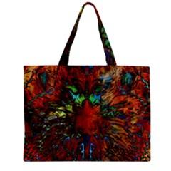 Boho Bohemian Hippie Floral Abstract Zipper Mini Tote Bag by CrypticFragmentsDesign