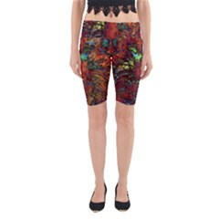 Boho Bohemian Hippie Floral Abstract Yoga Cropped Leggings by CrypticFragmentsDesign