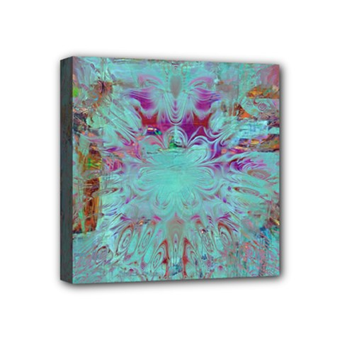 Retro Hippie Abstract Floral Blue Violet Mini Canvas 4  X 4  by CrypticFragmentsDesign