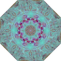 Retro Hippie Abstract Floral Blue Violet Hook Handle Umbrellas (medium) by CrypticFragmentsDesign