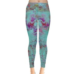 Retro Hippie Abstract Floral Blue Violet Leggings  by CrypticFragmentsDesign