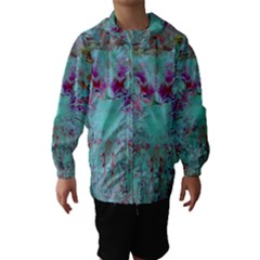 Retro Hippie Abstract Floral Blue Violet Hooded Wind Breaker (kids) by CrypticFragmentsDesign