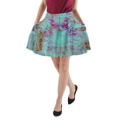 Retro Hippie Abstract Floral Blue Violet A Line Pocket Skirt by CrypticFragmentsDesign