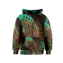 Metallic Abstract Copper Patina  Kids  Zipper Hoodie by CrypticFragmentsDesign