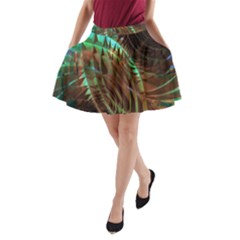 Metallic Abstract Copper Patina  A-Line Pocket Skirt by CrypticFragmentsDesign