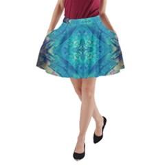 Boho Hippie Tie Dye Retro Seventies Blue Violet A Line Pocket Skirt by CrypticFragmentsDesign