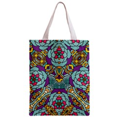 Mariager   Bold Blue,purple And Yellow Flower Design Zipper Classic Tote Bag by Zandiepants