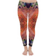 Boho Bohemian Hippie Floral Abstract Faded  Winter Leggings  by CrypticFragmentsDesign
