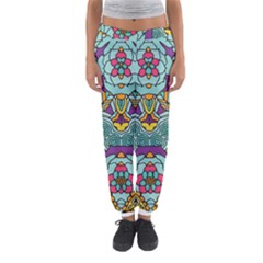 Mariager   Bold Blue,purple And Yellow Flower Design   Women s Jogger Sweatpants by Zandiepants