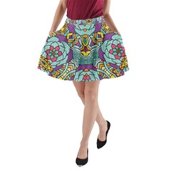 Mariager   Bold Blue,purple And Yellow Flower Design   A Line Pocket Skirt by Zandiepants
