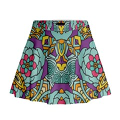 Mariager   Bold Blue,purple And Yellow Flower Design   Mini Flare Skirt by Zandiepants
