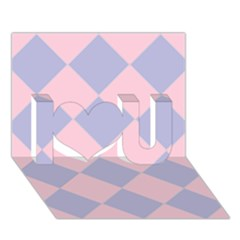 Harlequin Diamond Argyle Pastel Pink Blue I Love You 3d Greeting Card (7x5)  by CrypticFragmentsColors