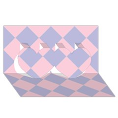 Harlequin Diamond Argyle Pastel Pink Blue Twin Hearts 3d Greeting Card (8x4)  by CrypticFragmentsColors