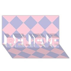 Harlequin Diamond Argyle Pastel Pink Blue Believe 3d Greeting Card (8x4)  by CrypticFragmentsColors
