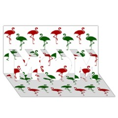 Flamingos Christmas Pattern Red Green Mom 3d Greeting Card (8x4) by CrypticFragmentsColors