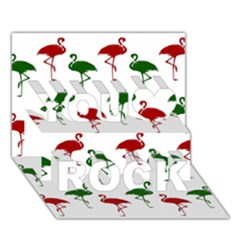 Flamingos Christmas Pattern Red Green You Rock 3D Greeting Card (7x5)