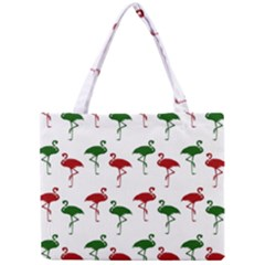 Flamingos Christmas Pattern Red Green Mini Tote Bag by CrypticFragmentsColors