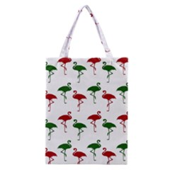 Flamingos Christmas Pattern Red Green Classic Tote Bag by CrypticFragmentsColors