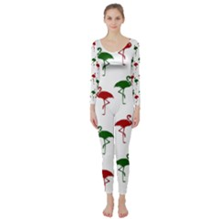 Flamingos Christmas Pattern Red Green Long Sleeve Catsuit by CrypticFragmentsColors