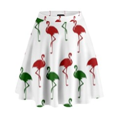 Flamingos Christmas Pattern Red Green High Waist Skirt by CrypticFragmentsColors
