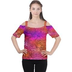Purple Orange Pink Colorful Art Women s Cutout Shoulder Tee by yoursparklingshop