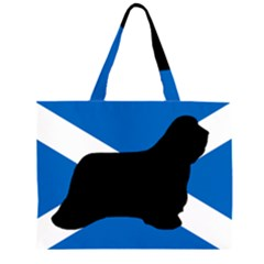 Bearded Collie Silhouette Scotland Flag Large Tote Bag