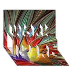 Fractal Bird Of Paradise Work Hard 3d Greeting Card (7x5) by WolfepawFractals