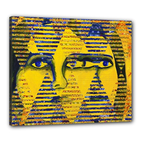 Conundrum Ii, Abstract Golden & Sapphire Goddess Canvas 24  X 20  by DianeClancy