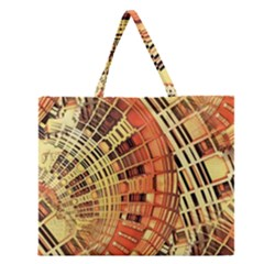 Semi Circles Abstract Geometric Modern Art Orange Zipper Large Tote Bag by CrypticFragmentsDesign