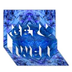 Boho Bohemian Hippie Tie Dye Cobalt Get Well 3d Greeting Card (7x5)  by CrypticFragmentsDesign