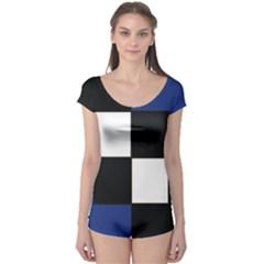 Black White Navy Blue Modern Square Color Block Pattern Boyleg Leotard (Ladies) by CircusValleyMall