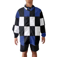Black White Navy Blue Modern Square Color Block Pattern Wind Breaker (Kids) by CircusValleyMall