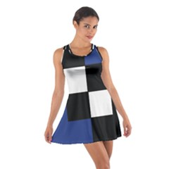 Black White Navy Blue Modern Square Color Block Pattern Racerback Dresses