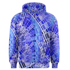 Semi Circles Abstract Geometric Modern Art Blue  Men s Zipper Hoodie by CrypticFragmentsDesign