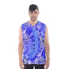 Semi Circles Abstract Geometric Modern Art Blue  Men s Basketball Tank Top by CrypticFragmentsDesign