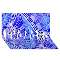 Semi Circles Abstract Geometric Modern Art Blue  Engaged 3d Greeting Card (8x4)  by CrypticFragmentsDesign