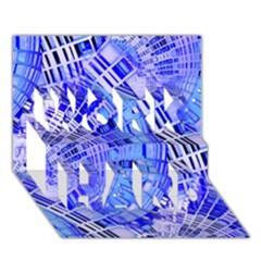 Semi Circles Abstract Geometric Modern Art Blue  Work Hard 3d Greeting Card (7x5)  by CrypticFragmentsDesign