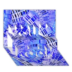 Semi Circles Abstract Geometric Modern Art Blue  You Rock 3d Greeting Card (7x5)  by CrypticFragmentsDesign
