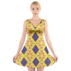 Tribal shapes and rhombus pattern                    V-Neck Sleeveless Dress