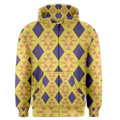 Tribal Shapes And Rhombus Pattern                        Men s Zipper Hoodie by LalyLauraFLM