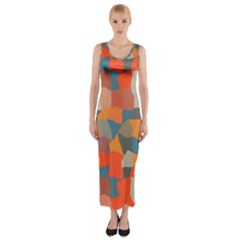 Retro Colors Distorted Shapes                           Fitted Maxi Dress by LalyLauraFLM