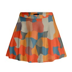Retro colors distorted shapes                             Mini Flare Skirt by LalyLauraFLM