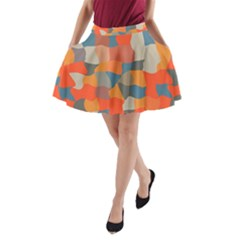 Retro colors distorted shapes                           A-Line Pocket Skirt by LalyLauraFLM